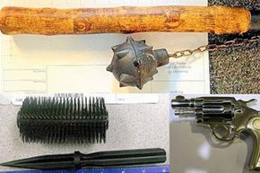 Some of the very unusual items the TSA has found include (from top, going clockwise): a medieval-style mace, a Peplica clock revolver, and a dagger hidden inside a hairbrush.