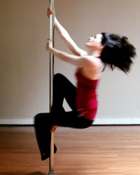 Actress Sheila Kelly, developer of a pole dancing workout, gives it a spin.