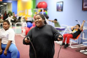 Camryn Jenkins,who weighs 200lbs (90.7kgs), enjoys her favorite workout, jump rope, at the Youth Visions Fitness Center in Upper Marlboro, Md. The center gives obese children five to 16 years old a chance to work out and lose weight.