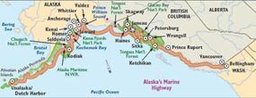 This map points out the highlights of Marine Highway for sightseers.