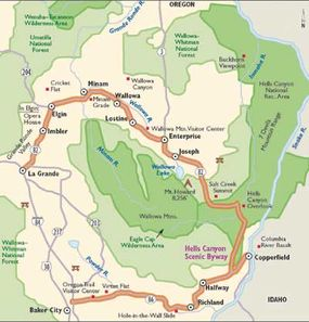 This map details Hells Canyon Scenic Byway.