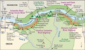 This map details the Historic Columbia River Highway.