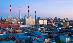 A power station in Queens, N.Y. New York City uses AC power pioneered by George Westinghouse.