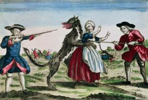The Beast of Gevaudan, published by Basset, 1764 (color engraving). Musee Nat. des Arts et Traditions Populaires, Paris, France