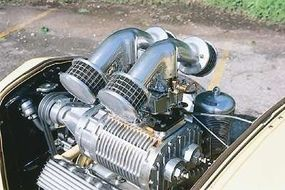 Wetzel's Roadster originally sported a Ford flathead V-8 with Evans heads and intake manifold.