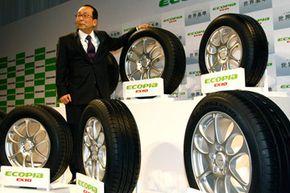 Bridgestone Corp. President Shoshi Arakawa unveils Ecopia EX10 tires, the latest products of its fuel-efficient Ecopia tire brand, in Tokyo, Japan.