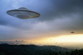 An artist's rendering of UFOs. See more UFO pictures.