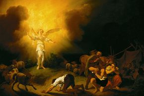 This painting by Christian Wilhelm Ernst Dietrich depicts biblical shepherds experiencing an angelic encounter.