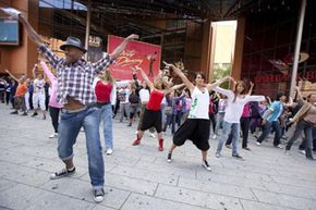"""These days, flash mobs spring up for all sorts of occasions. This group, for example, is performing """"Thriller"""" in honor of Michael Jackson."""
