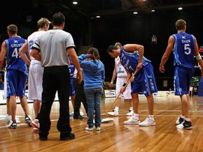 Sometimes players even get in on the floor-cleaning action.