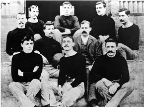 Mustache club? Turtleneck society? Neither -- it's the very first basketball team.