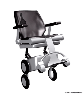 """The iBot wheelchair also has the ability to """"stand up"""" and balance on two wheels, putting the passenger at eye level with standing adults and making it possible to reach much higher objects and controls."""
