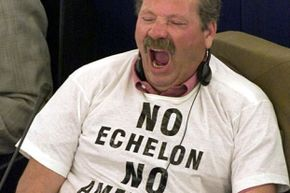 Prior to Fellwock exposing the ECHELON campaign, no one even knew of it. Here, Italian Eurodeputy Roberto Felice Bigliardo protests ECHELON during debates in the European parliament in 2000.