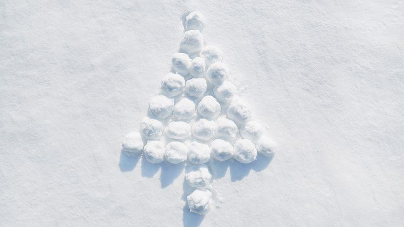 Christmas tree made of snow