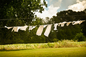 One secret to bright natural fabric whites? Using the sun's rays to disinfect and lighten them.