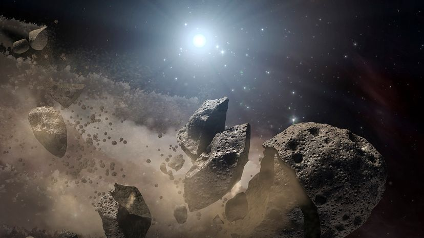 white dwarf star and disintegrating asteroid