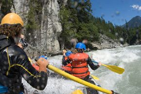 Rafters take on the rapids at Squamish River in British Columbia.