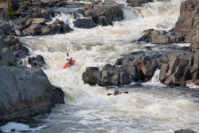 Some whitewater kayakers take on the Potomac River.
