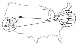 This map from 1972 shows the layout for ARPANET, a predecessor to the Internet.