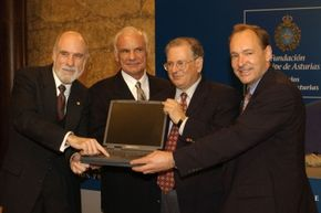 Internet pioneers Lawrence Roberts, Robert Kahn, Vinton Cerf and Tim Berners-Lee attend a media conference the day before they receive the Prince of Asturias award for Science and Technology investigation October 24, 2002 in Oviedo, Spain.
