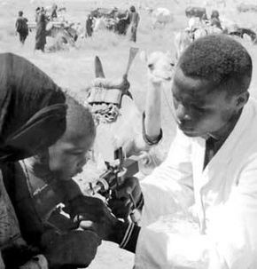 A Nigerian child receives the smallpox vaccine during the Smallpox Eradication and Measles Control Program of West Africa.