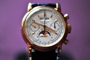 A rare yellow gold Patek Philippe wristwatch, on display at a Sotheby's auction preview in Geneva, Switzerland.