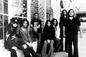 Members of the band Lynyrd Skynyrd pose for the camera in 1973.