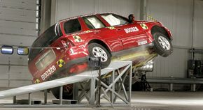 A rollover crash test at General Motors' new $10 million crash testing center in Milford, Mich. GM announced that rollover airbags will be standard equipment in all its vehicles by 2012.