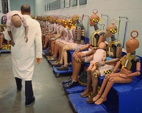 Crash test dummies replicate passengers ranging from pregnant women to infants.