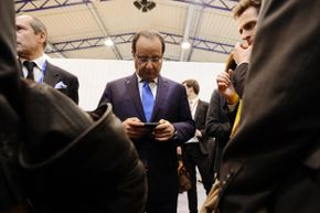 French president Francois Hollande probably had great WiFi access during a 2013 EU summit in Lithuania.