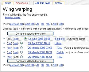 """Revision history for """"Wing warping"""" entry"""