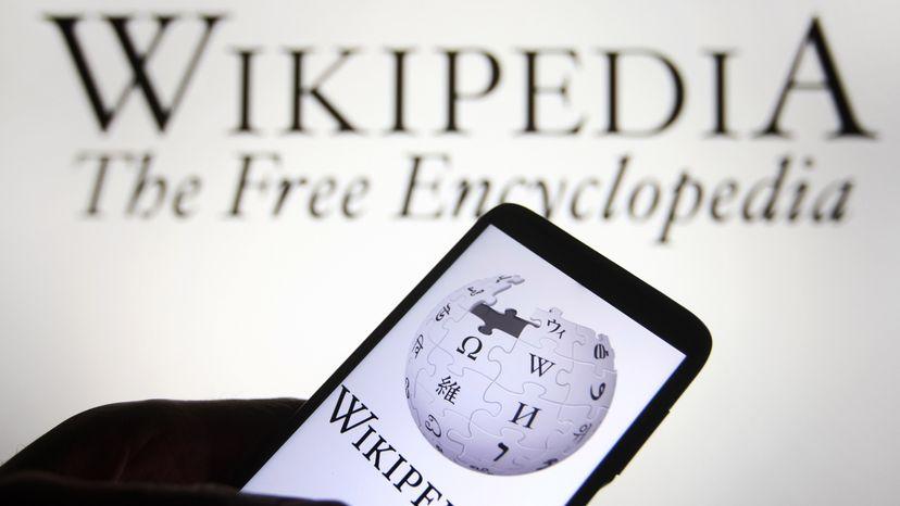 Wikipedia logo is seen on a smartphone