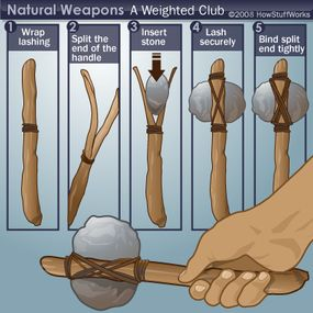 You can make a club with a rock and a split stick.