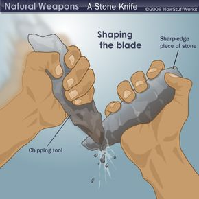 To make a wilderness knife, first chip away the general shape with another rock or sharped bone.