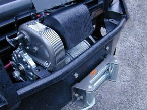 Electric winch on a four-wheel drive truck