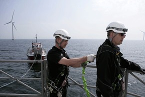 Current offshore wind turbines are secured to the seafloor; in the future, the turbines may be held in place by an anchor.