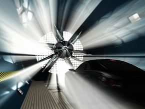 Wind tunnel for car testing.