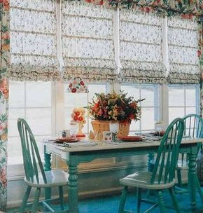 Tightly shirred fabric in a small print is the key to these successful Roman shades, which are framed by panels in a larger pattern topped with a triple ruffle valance.