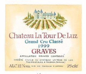 The following numbers correspond to the list below: 1. Chateau La Tour De Luz, 2. Grand Cru Classe, 3. 1999, 4. Graves, 5. Appellation Graves Controlee, 6. Societe Civile, 7. Mis en Bouteillg, 8. ALC. 12% vol, 9. 75 cle