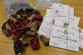 Corks, foil capsules and wine labels used as evidence in 2013 the trial of wine dealer Rudy Kurniawan. He was found guilty of masterminding a lucrative scheme to sell fake vintage wine.