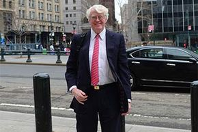 Florida energy magnate Bill Koch arrives at federal court in Manhattan to attend the closing arguments in his trial against California businessman Eric Greenberg whom he accused of selling him counterfeit wine.
