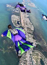 Wingsuit flyers soar above the Florida Keys