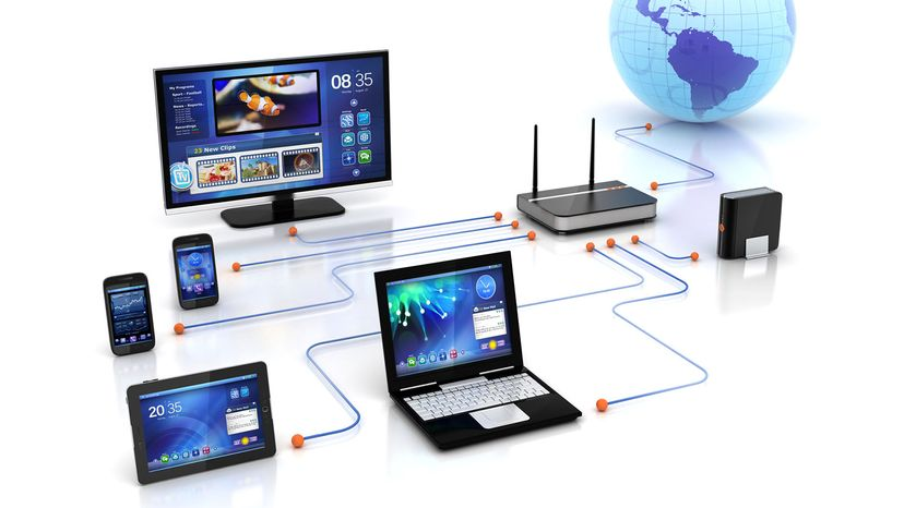 home network solution & wifi router connectivity to smart tv streaming, digital HDD storage, PCs & laptops, mobile smartphones and Tablet Pc .. rendered in 3D