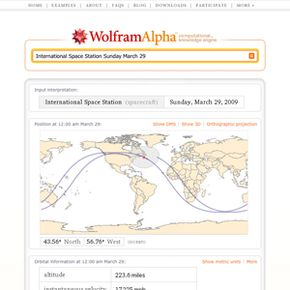 A sample results page from Wolfram|Alpha