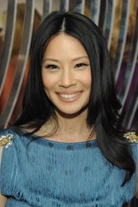 Lucy Liu's cheeks have just a hint of peachy color to pull together her barely-there makeup.