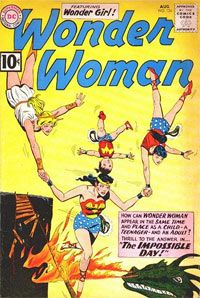 Wonder Woman completes an unassisted triple play.