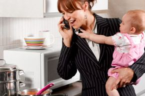 """Working mothers often have to cover a """"second shift"""" at home."""