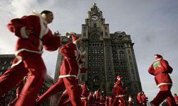 The annual Santa Dash in Liverpool, UK