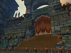 The gate to Zul Aman, before the instance existed in World of Warcraft. See more video game system pictures.