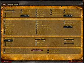 """The """"World of Warcraft"""" interface options screen"""
